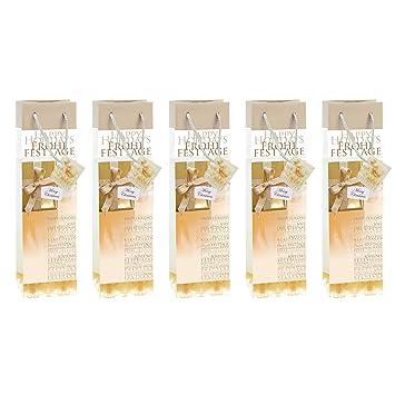 Golden Shimmer 5 unds. SIGEL GT018 Bolsa para regalos de Navidad para botellas 100x350x80 mm