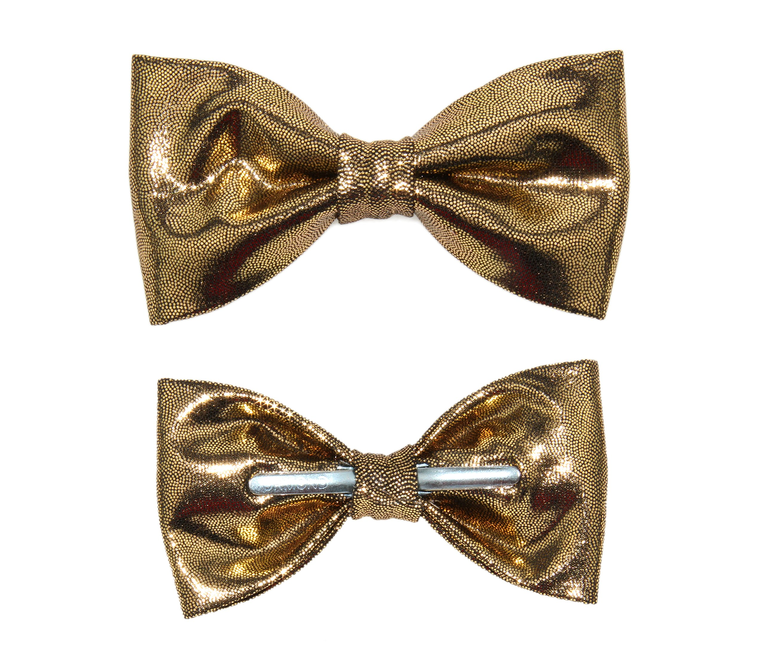 amy2004marie Men's Shiny Gold Clip On Bow Tie Bowtie by