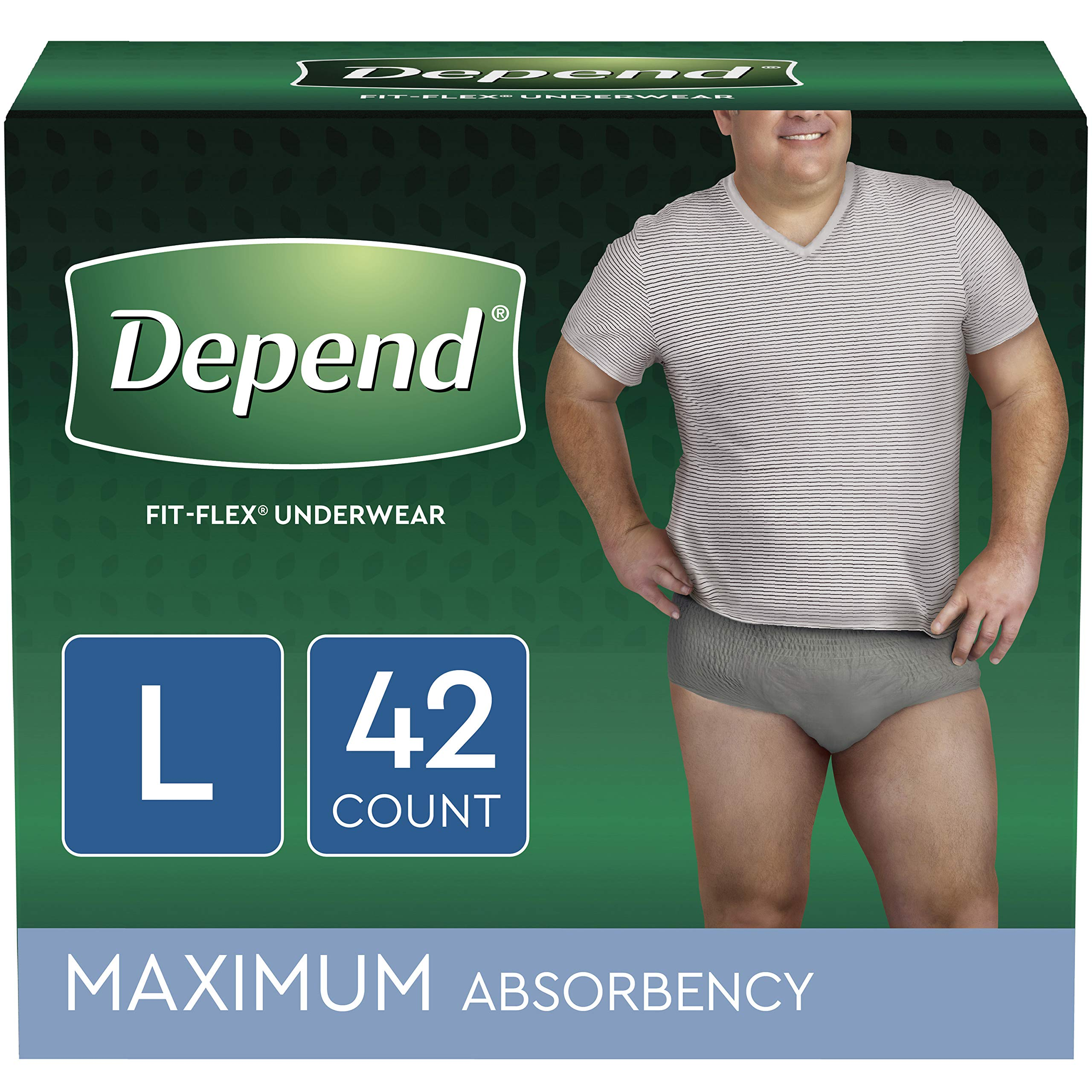 Depend FIT-FLEX Incontinence Underwear for Men, Maximum Absorbency, Disposable, L, Grey, 42 Count