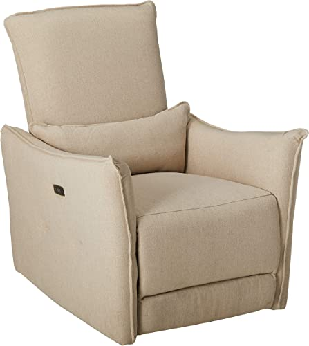 Basia Plush Cushion Fabric Power Recliner Chair Wheat