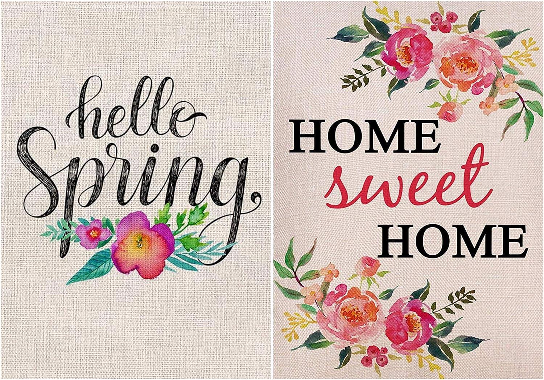 Hello Spring Flower Garden Flag Vertical Double Sided, Home Sweet Home Garden Flag Vertical Double Sided Spring Summer Yard Outdoor Decorative 12 x 18 Inch (2 Pack)