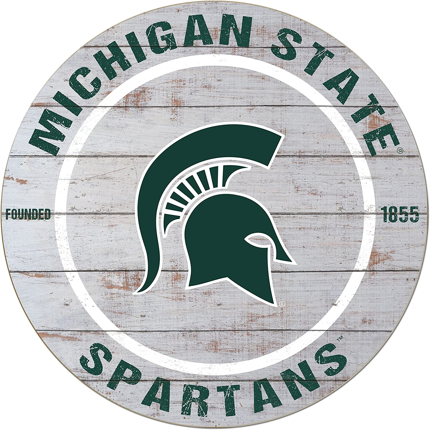 """KH Sports Fan 20""""x20"""" Weathered Michigan State Spartans Classic Circle Sign"""