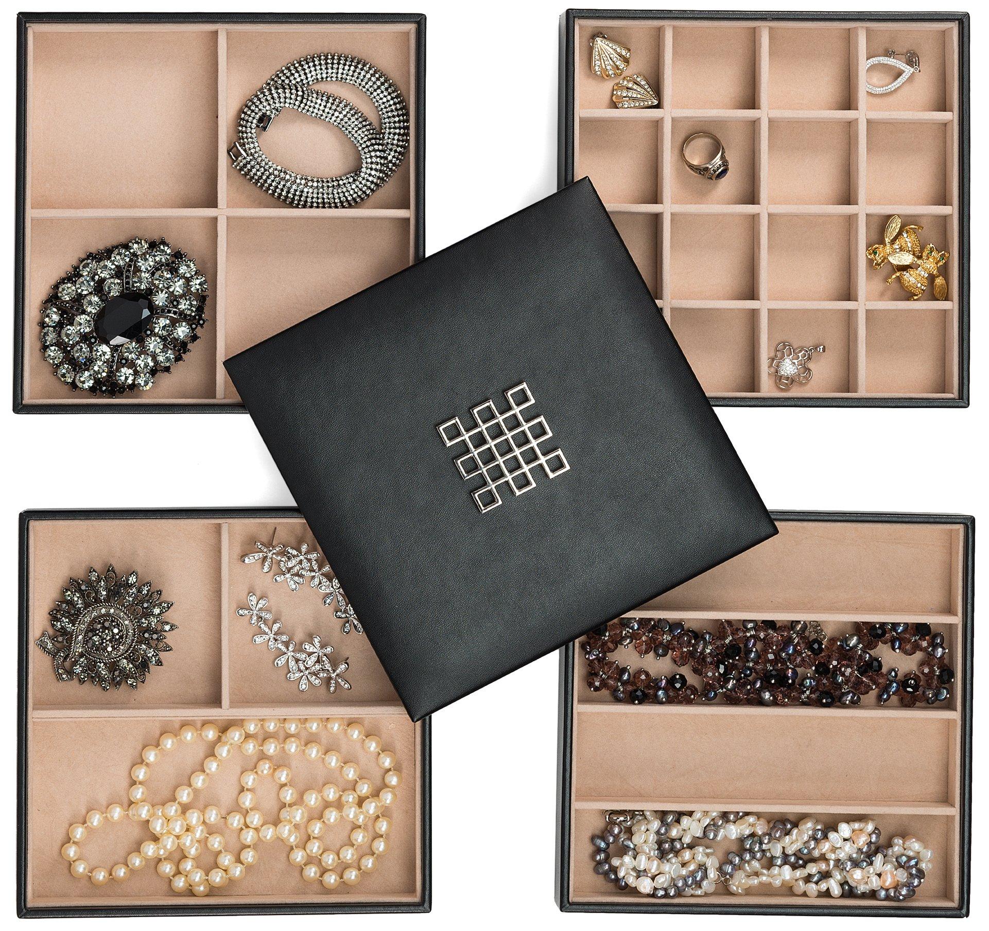 Glenor Co Jewelry Organizer Tray - 4 Stackable Trays & Lid Mirror - 27 Slot Storage Drawer, Dresser - Black