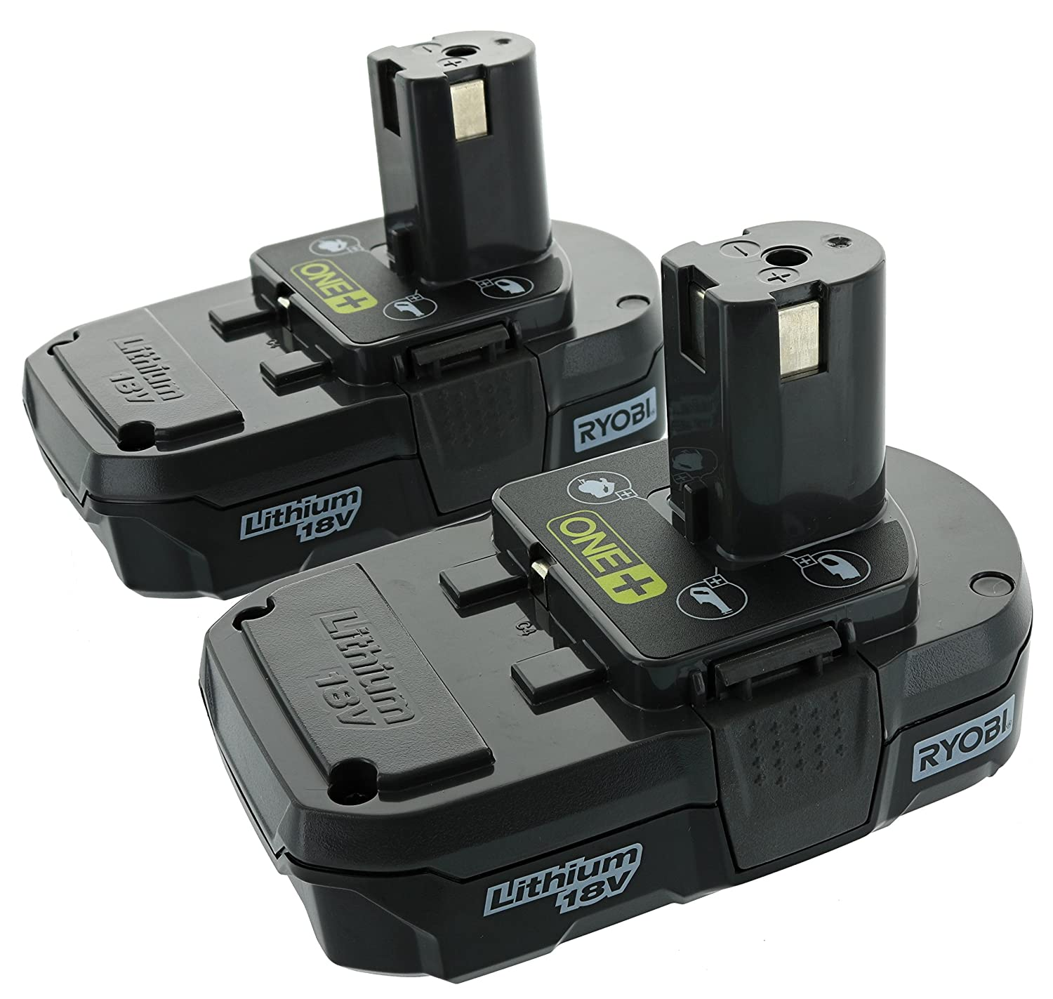 Ryobi P102 18V One+ Compact Lithium Ion Battery, 2 Pack FBA_P102