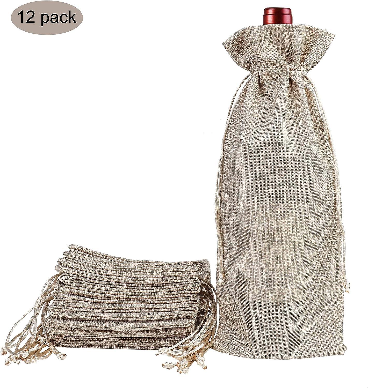 Bolsas de Vino de Yute, 37 x 15.5cm Hessian Wine Carriers con cordón, Bolsas de Regalo para Vino Envoltura de botella para cata de vinos fiesta boda cumpleaños navidad (Color de Marron de 12 Piezas)