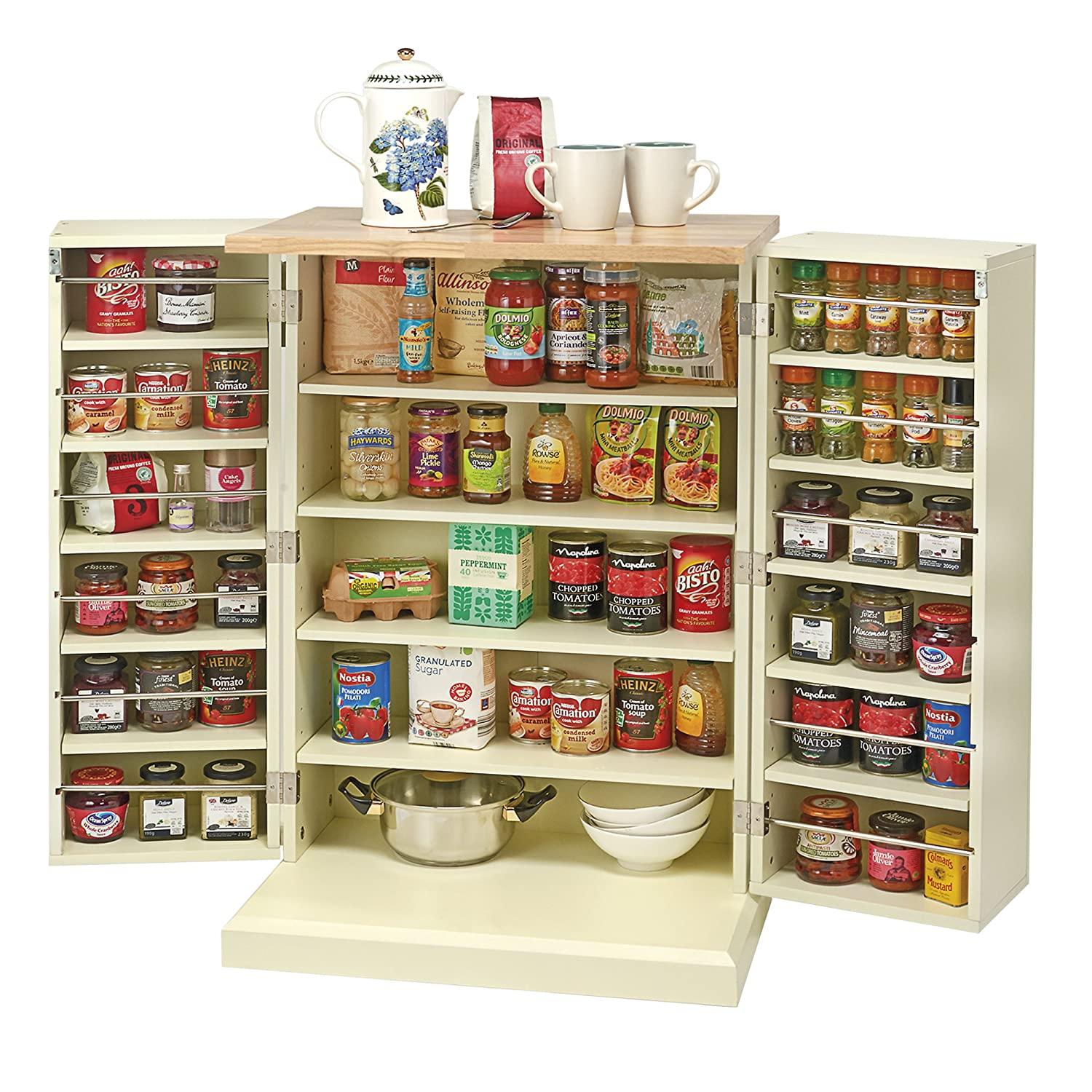 Kitchen Storage Unit Freestanding Traditional Multi Purpose Adjustable Shelves Pantry Cabinet With Solid Wood Worktop Country Kitchen