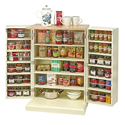 buy online 9d220 e1ab0 Kitchen Storage Unit, Freestanding Traditional Multi Purpose Adjustable  Shelves Pantry Cabinet with Solid Wood Worktop Country Kitchen