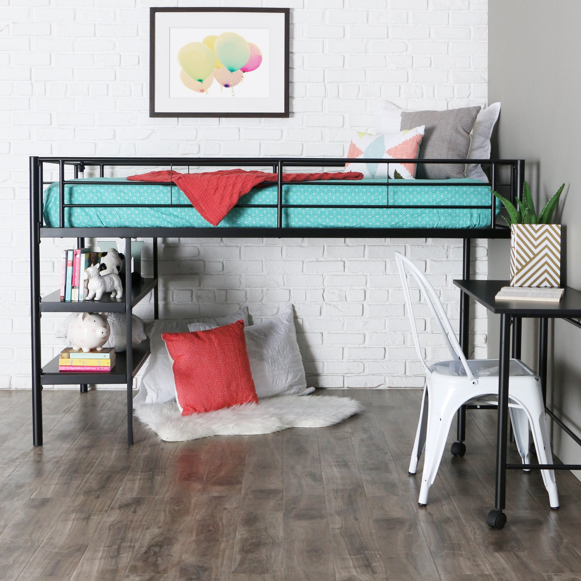 WE Furniture Twin Low Loft Metal Bed, Black by WE Furniture (Image #1)