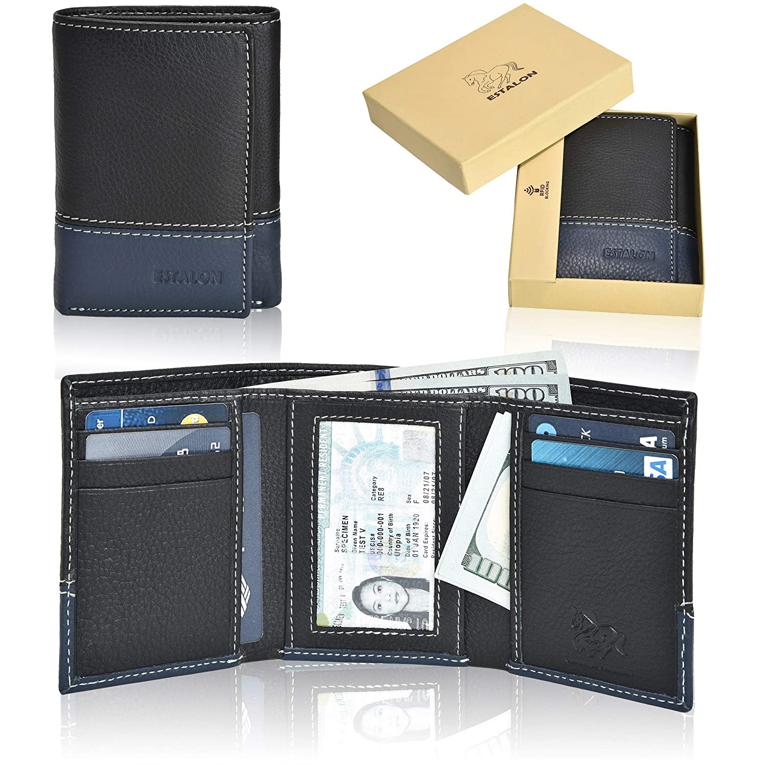 RFID Leather Trifold Wallets for Men - Handmade Slim Mens Wallet 6 Credit Card ID Window and Gift Box Secure by Estalon Black Italia 3.5x4.4x0.75