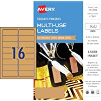 Avery Copper Brown Coloured Labels, 63.5 x 24 mm, 160 Labels (393280 / L7261)