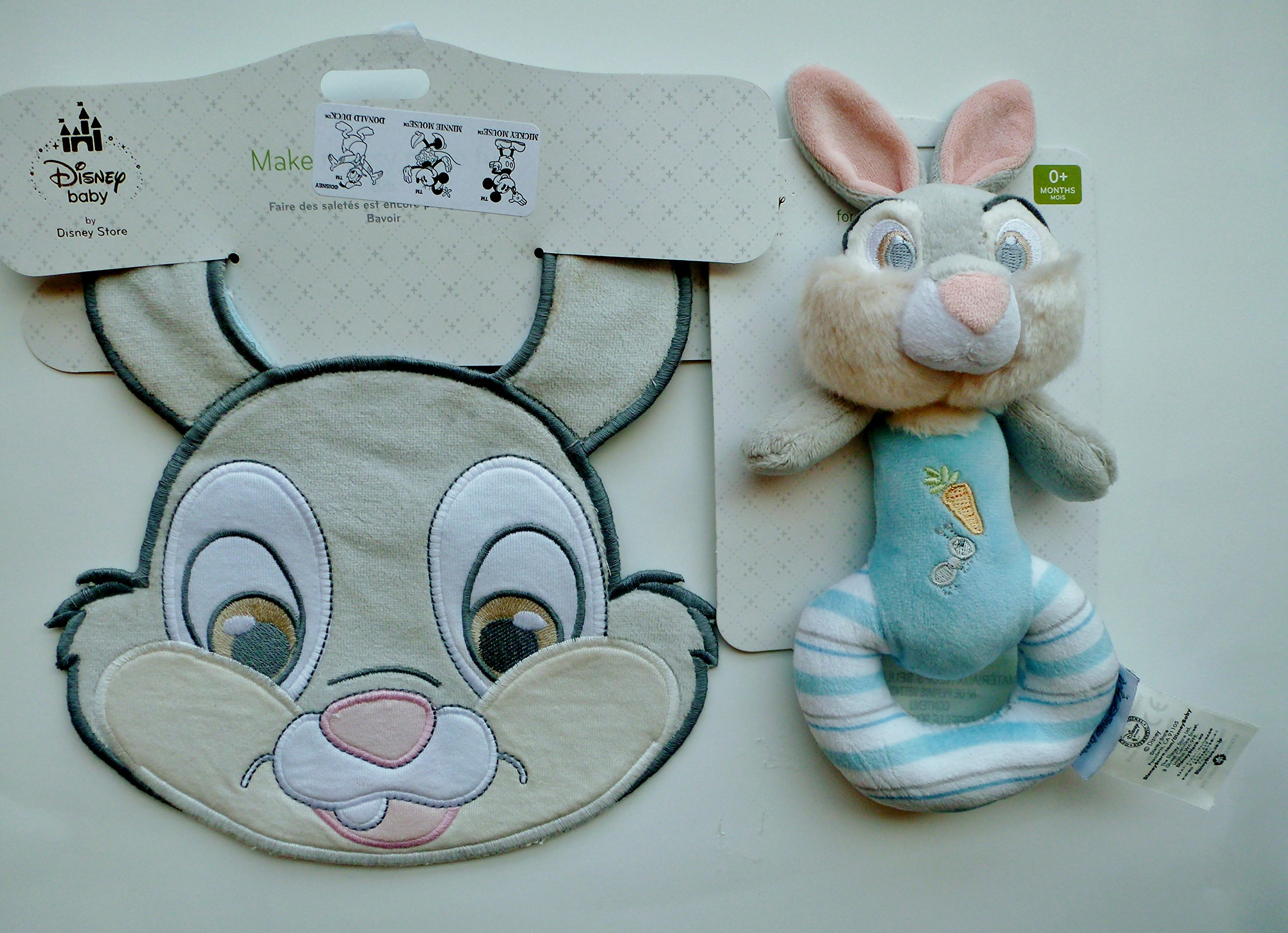 Disney Thumper the Bunnie Plush Rattle for Baby & Matching Bib