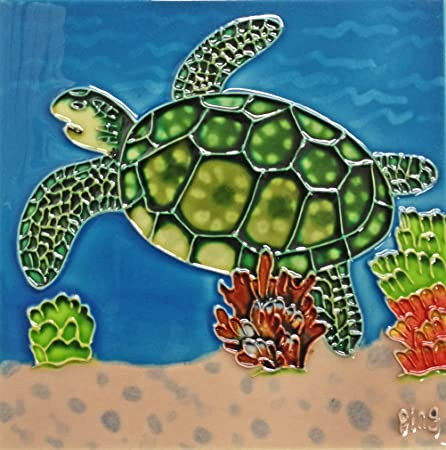Continental Art Center BD-0044 8 by 8-Inch Single Seaturtle Ceramic Art Tile