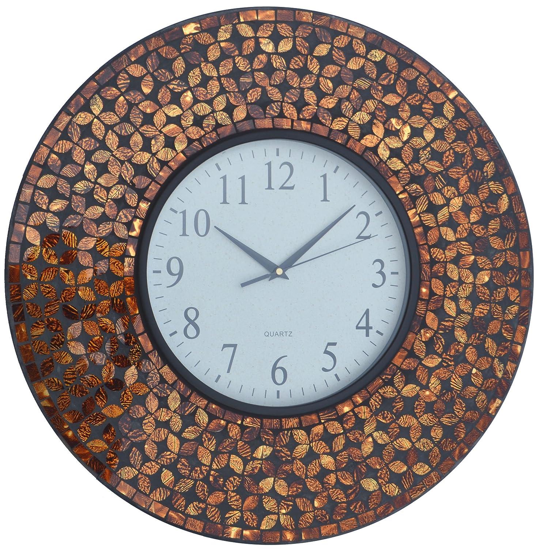 Lulu Decor Black Drop Wall Clock : Lulu decor inch amber flower mosaic wall clock black