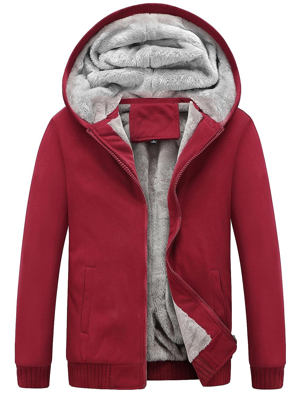 Yeokou Men's Winter Thicken Fleece Sherpa Lined Zipper Hoodie Sweatshirt Jacket