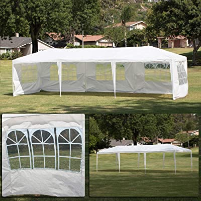 BELLEZE Large Heavy Duty 10' x 30' ft Wedding Canopy Party UV Event Dancing Gazebo Removable Side Walls Outdoors, White : Garden & Outdoor