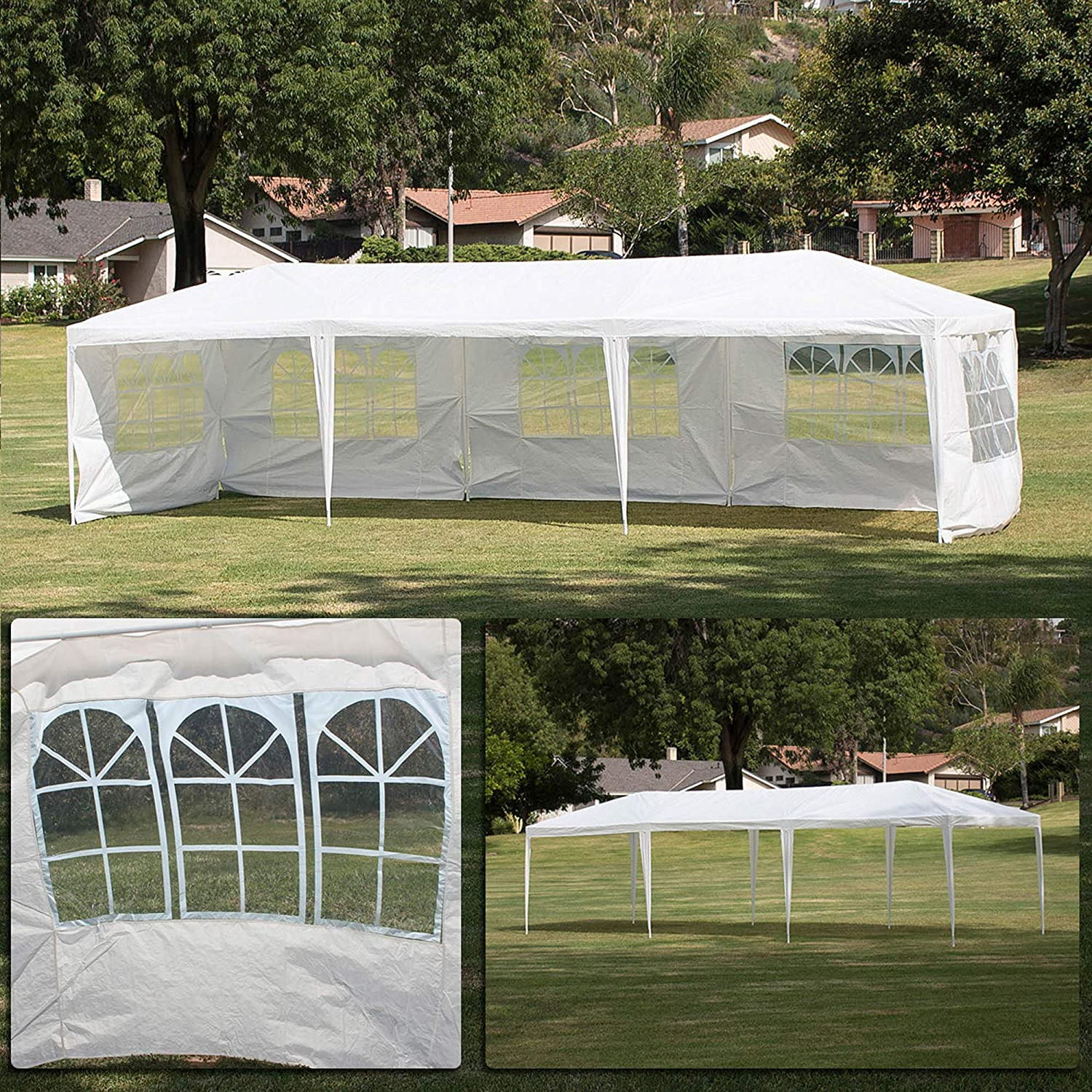 Amazon Com Belleze Large Heavy Duty 10 X 30 Ft Wedding Canopy Party Uv Event Dancing Gazebo Removable Side Walls Outdoors White Garden Outdoor