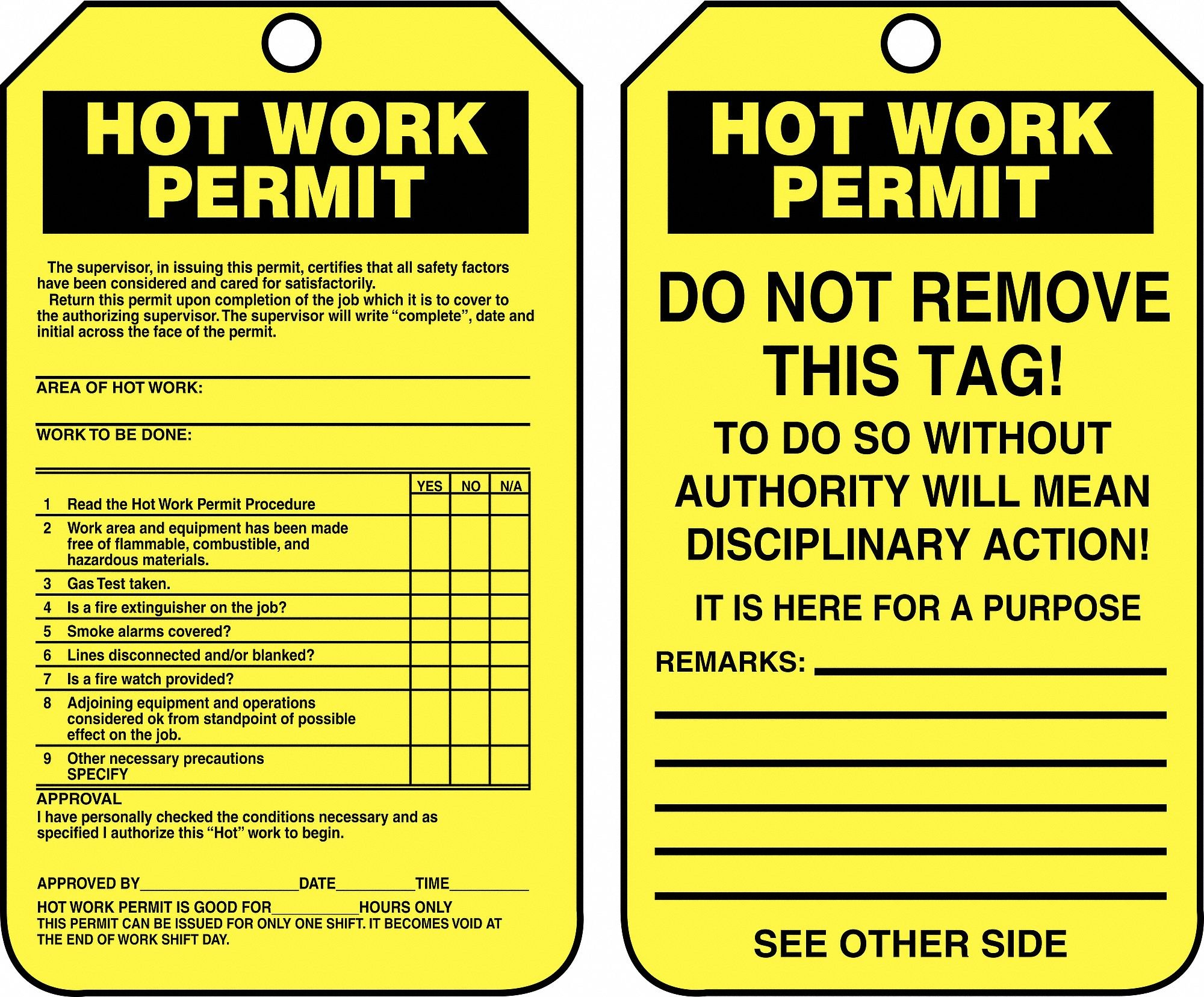 Permit Tag, Hot Work, Cardstock, 5-3/4'' x 3-1/4''