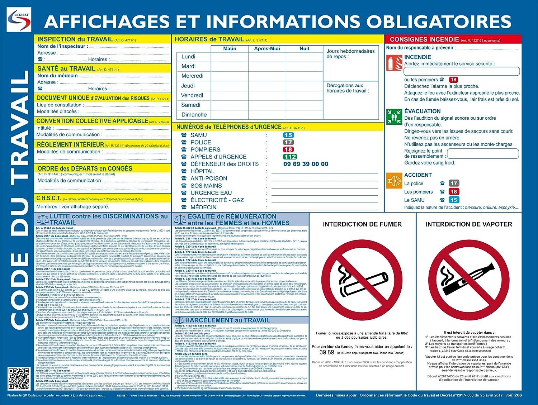 Affichage Obligatoire Panneau Plastifie Feutre Fixations Offerts