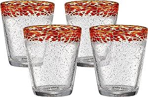 Artland Mingle Double Old Fashioned Glasses, Red Rim, Set of 4