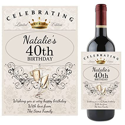Personalised 18th 21st 30th 40th 50th 60th HAPPY BIRTHDAY WINE CHAMPAGNE Bottle Label Any Age Gift Idea For Him Her N64 Amazoncouk Kitchen Home