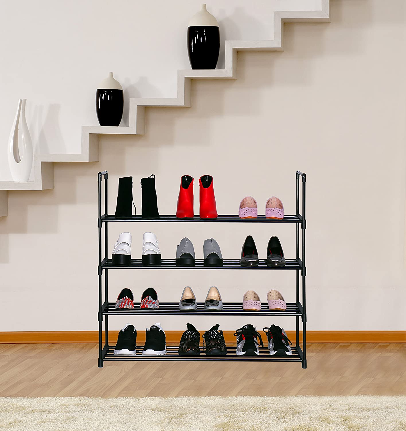 "HOMEFORT 4-Tier Shoe Rack, Metal Shoe Tower,20 Pairs Shoe Storage Shelf, Entryway Stackable Shoes Organizer with 4 Tiers Metal Shelves in Black,35.6"" W x11.82"" D x33.27"" H: Home Improvement"