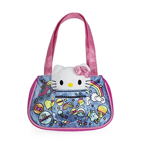 afafd98ff4d0 Amazon.com  Sanrio Hello Kitty Pink Denim Tote with Hello Kitty Plush Cat  for Girls  Shoes