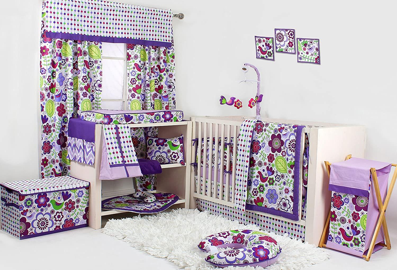 Bacati - Botanical Purple 10 Piece Girls Crib Set with Bumper Pad 100 Percent Cotton