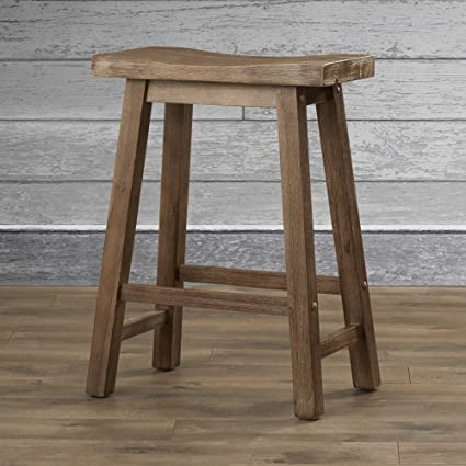 Amazoncom Rustic Bar Stool 24 Inches Contemporary Weathered