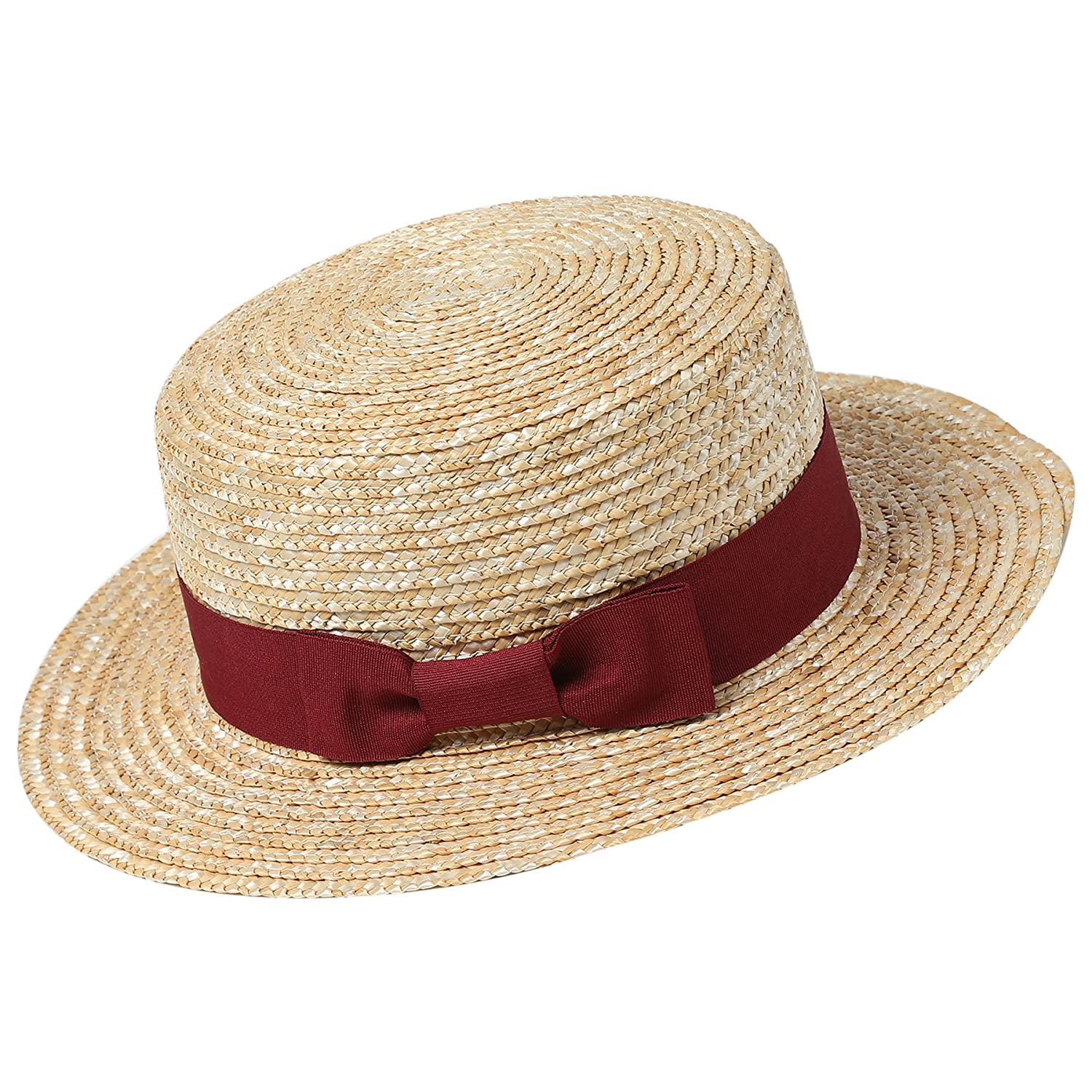 1c1e6784a32 Amazon.com  BABEYOND 1920s Brim Boater Hat for Men Gatsby Hat for Men with  Black and Red Band Roaring 20s Costume Accessories for Men (Black)  Clothing