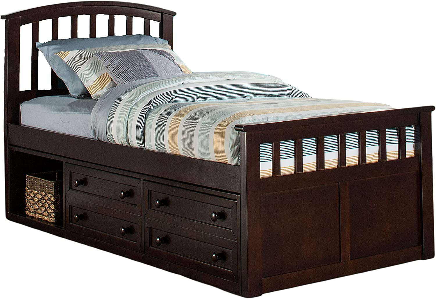 Hillsdale Furniture Hillsdale Charlie Captains Storage Bed, Twin, Chocolate