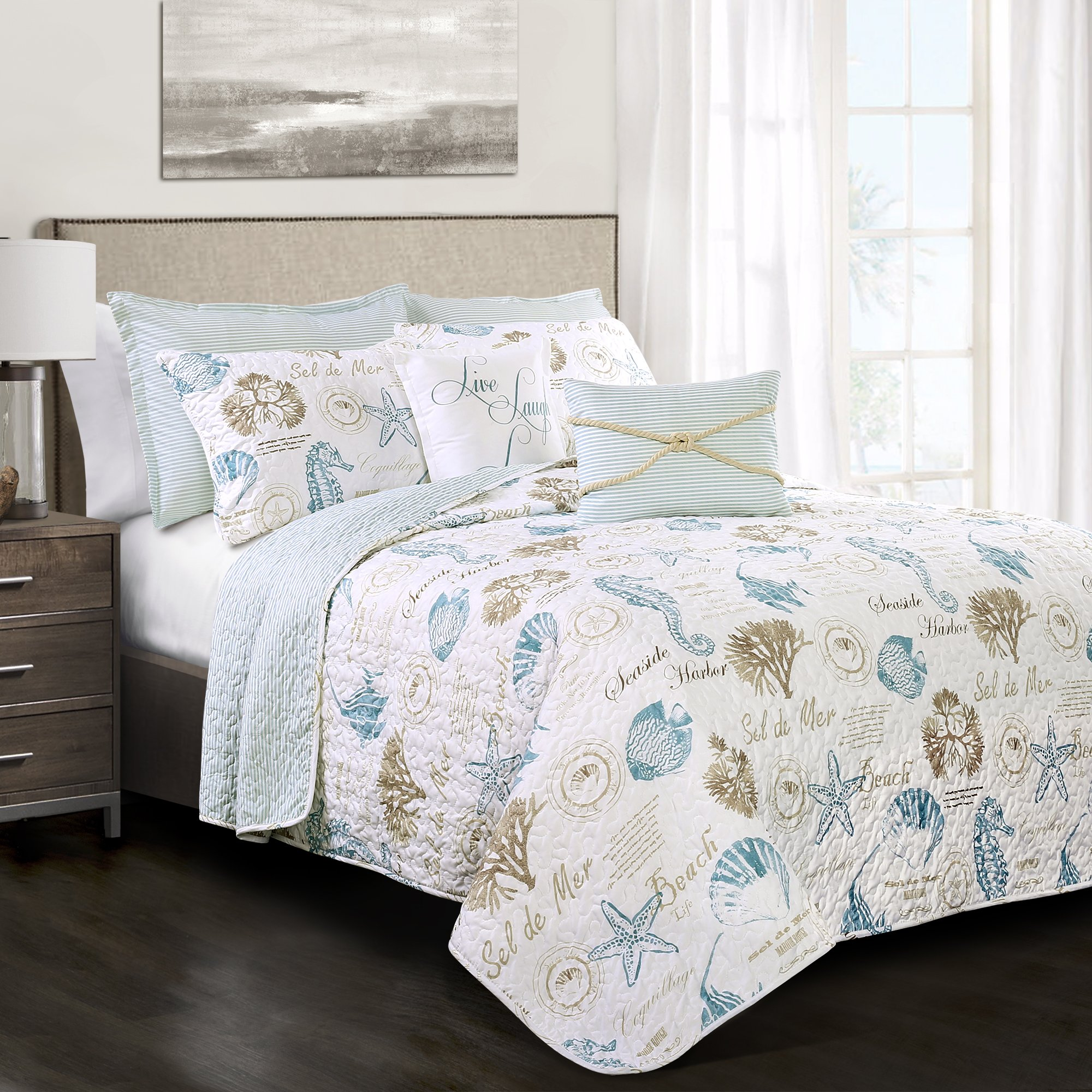 Lush Decor 7 Piece Harbor Life 7 Quilt Set, King, Blue and Taupe