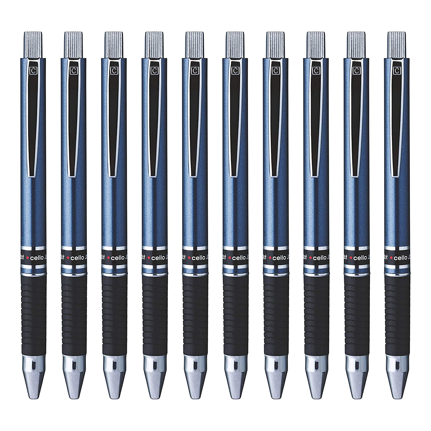 Cello Jotdot Ball Pen - Pack of 10 (Ink- Blue,body Color - Multiple)
