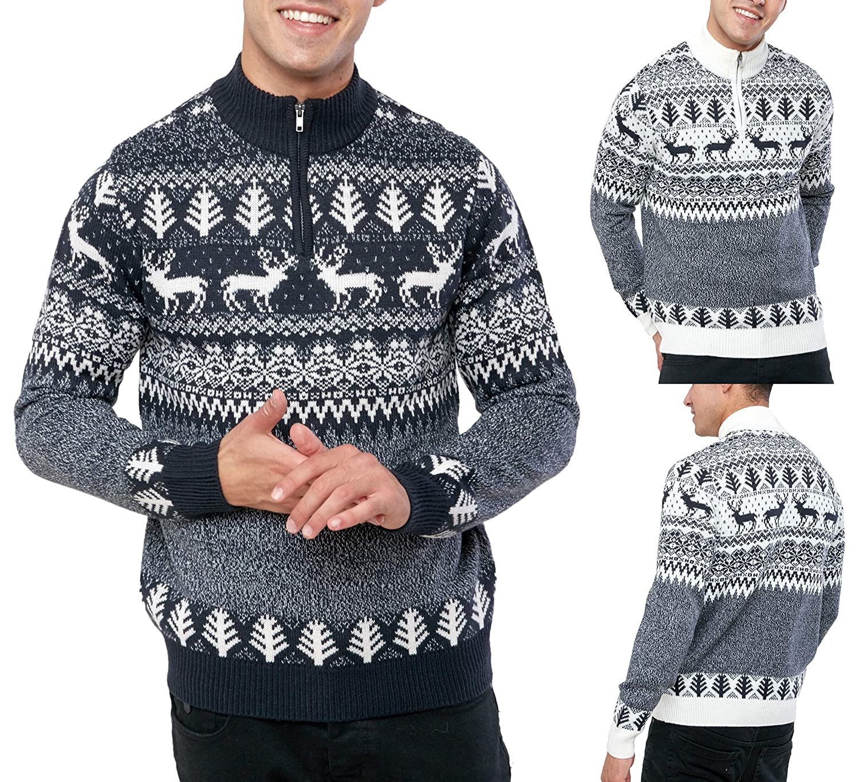 Broken Standard Mens Reindeer Twist Zip Funnel Neck Christmas Jumper