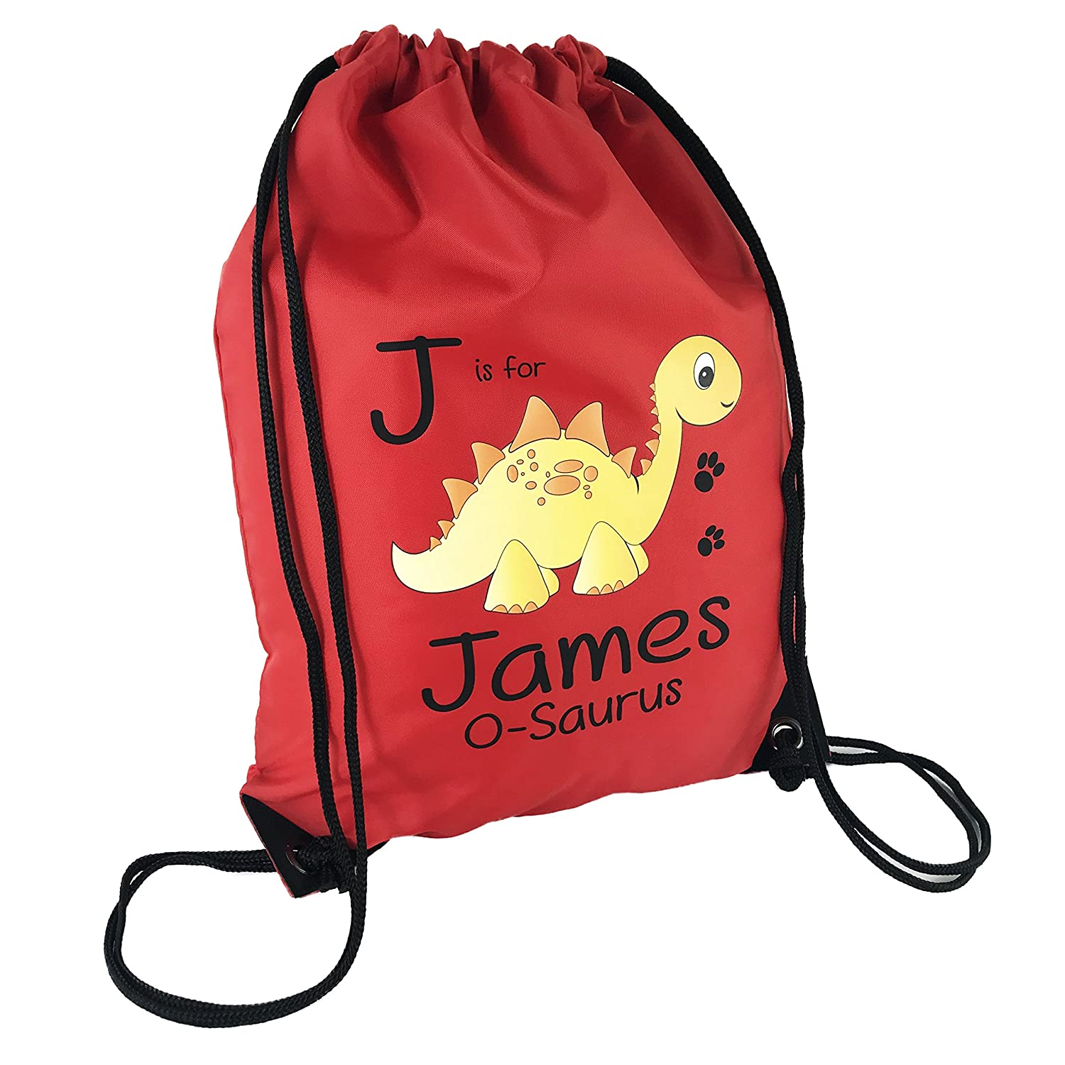 The Supreme Gift Company Personalised Kids YELLOW Stegosaurus Dinosaur on a RED Drawstring Swimming, School, PE Bag For Boys & Girls SO-BB-GB-DB-0067