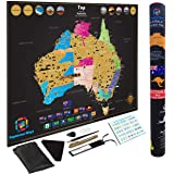 Large Premium Scratch Off Map Of Australia Poster Deluxe Adventure Travel by Kaleidoscope World Large 82 x 60 CM or 32 x 24 inch Great for Gifts and for kids Include FREE TOOLS Glossy
