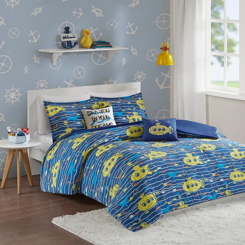 LV 5 Piece Kids Navy Blue Yellow Submarine Comforter Full QueenSet, Fun Under Water Sub Themed Bedding Fish Wave Stripe Pattern Sea Dream Graphic Pattern, Cotton
