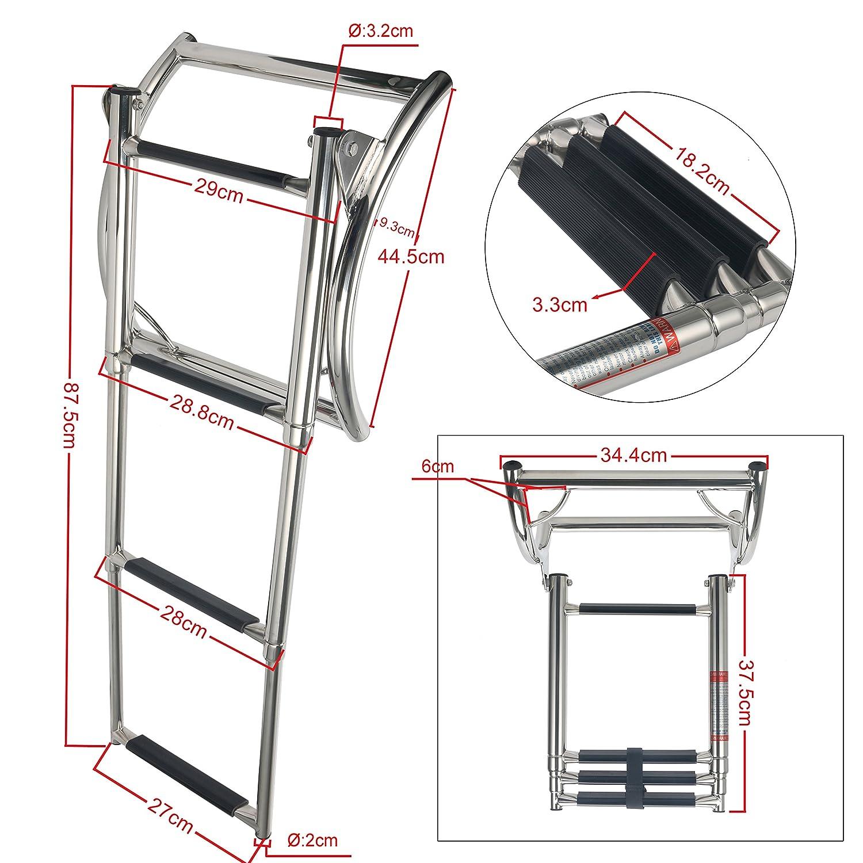 Shanghai Amarine-made 3 Step Rib Ladder Stainless Steel Telescoping Swim Step Rubber Boat Ladder Alfa-Marine