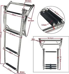 Amarine-made - Escalera de 3 peldaños de acero inoxidable telescópica, escalera de goma para barco: Amazon.es: Deportes y aire libre