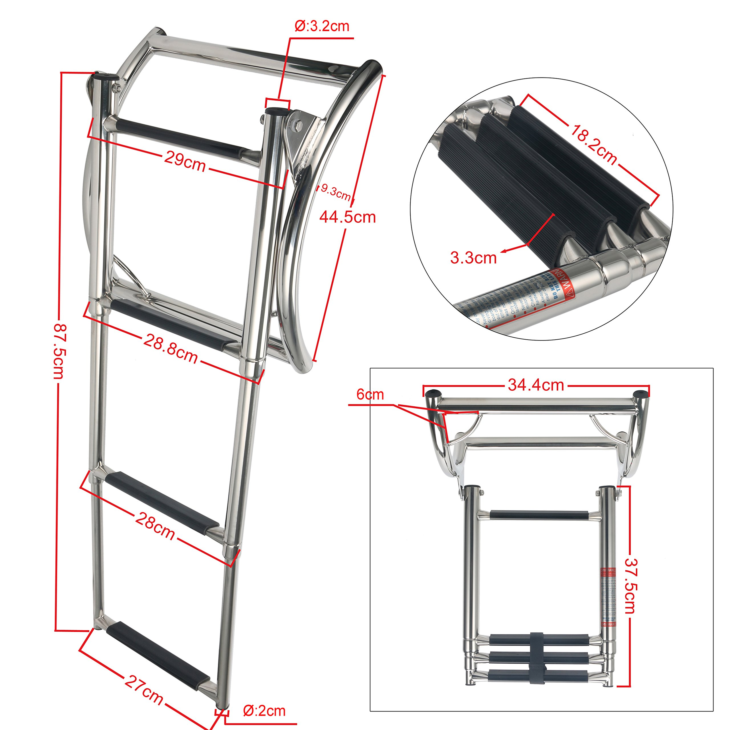 Amarine-made 3 Step Rib Ladder Stainless Steel Telescoping Swim Step Rubber Boat Ladder