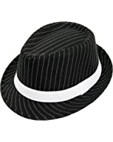 DELUXE PINSTRIPE TRILBY HAT BLACK WITH WHITE STRIPE & WHITE BAND GANGSTER STYLE SIZE 57CM