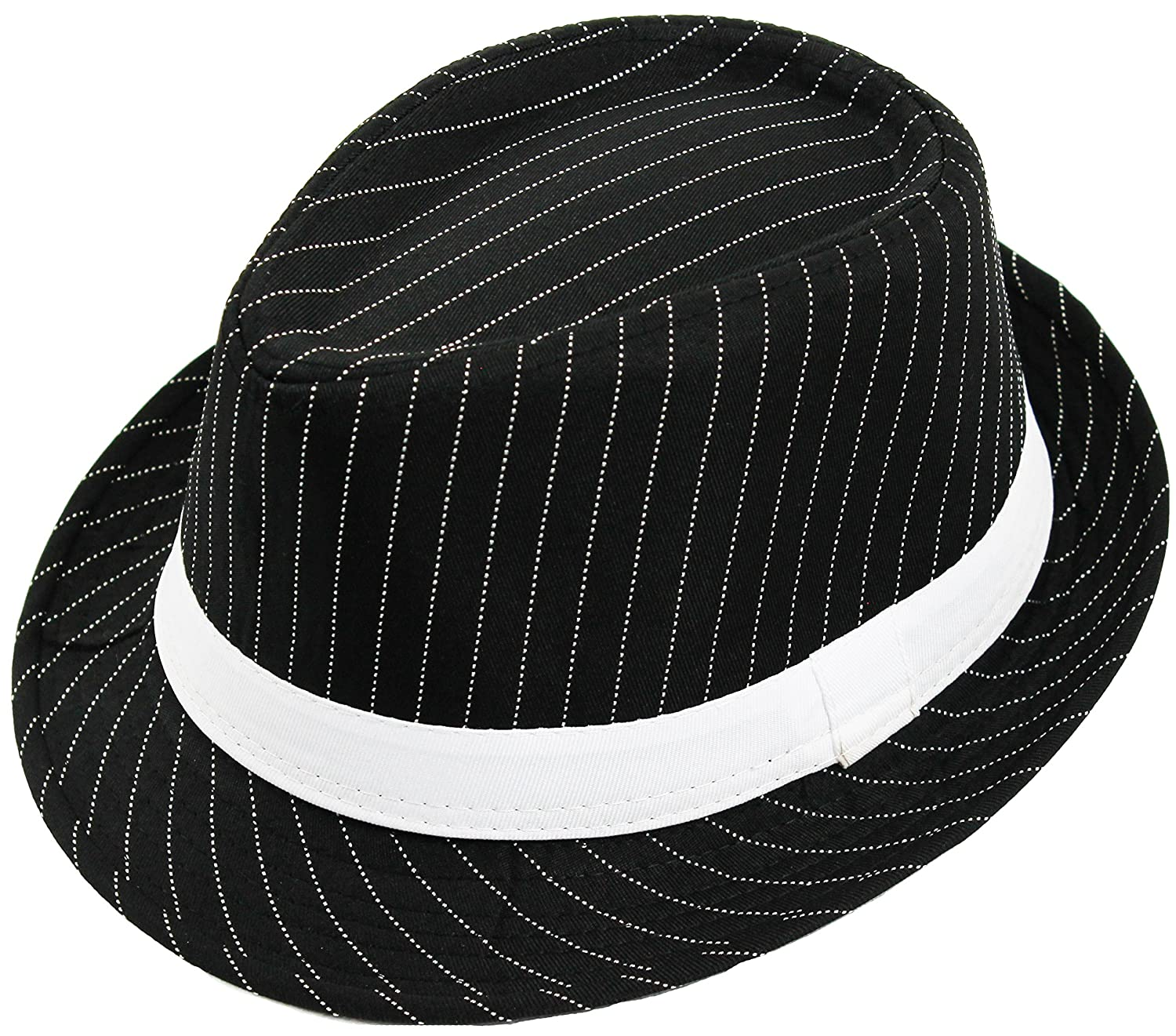 ILOVEFANCYDRESS Men s Deluxe Pinstripe Trilby Hat Stripe   Band Gangster  Style Fedora at Amazon Men s Clothing store  5882c019abde