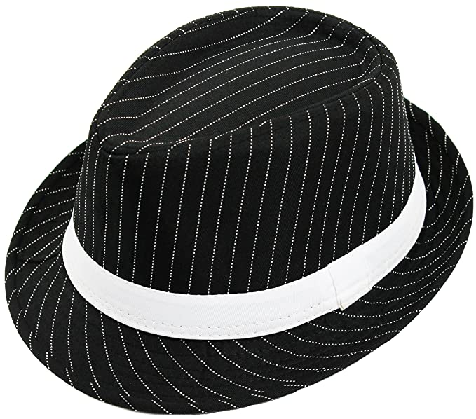 a4571fa8f ILOVEFANCYDRESS Men's Deluxe Pinstripe Trilby Hat Stripe & Band Gangster  Style