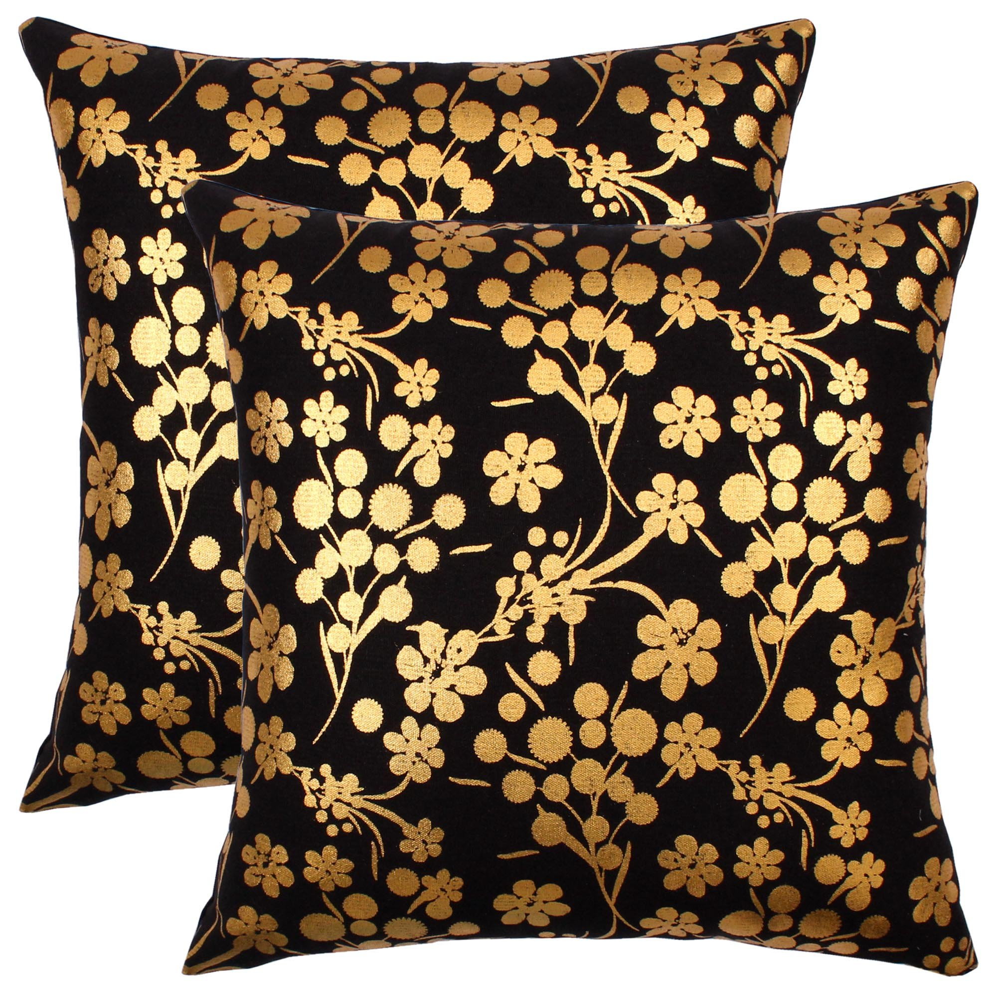 Bath Bed Decor Throw Pillow Covers (18'' x 18'', Retro Gold)