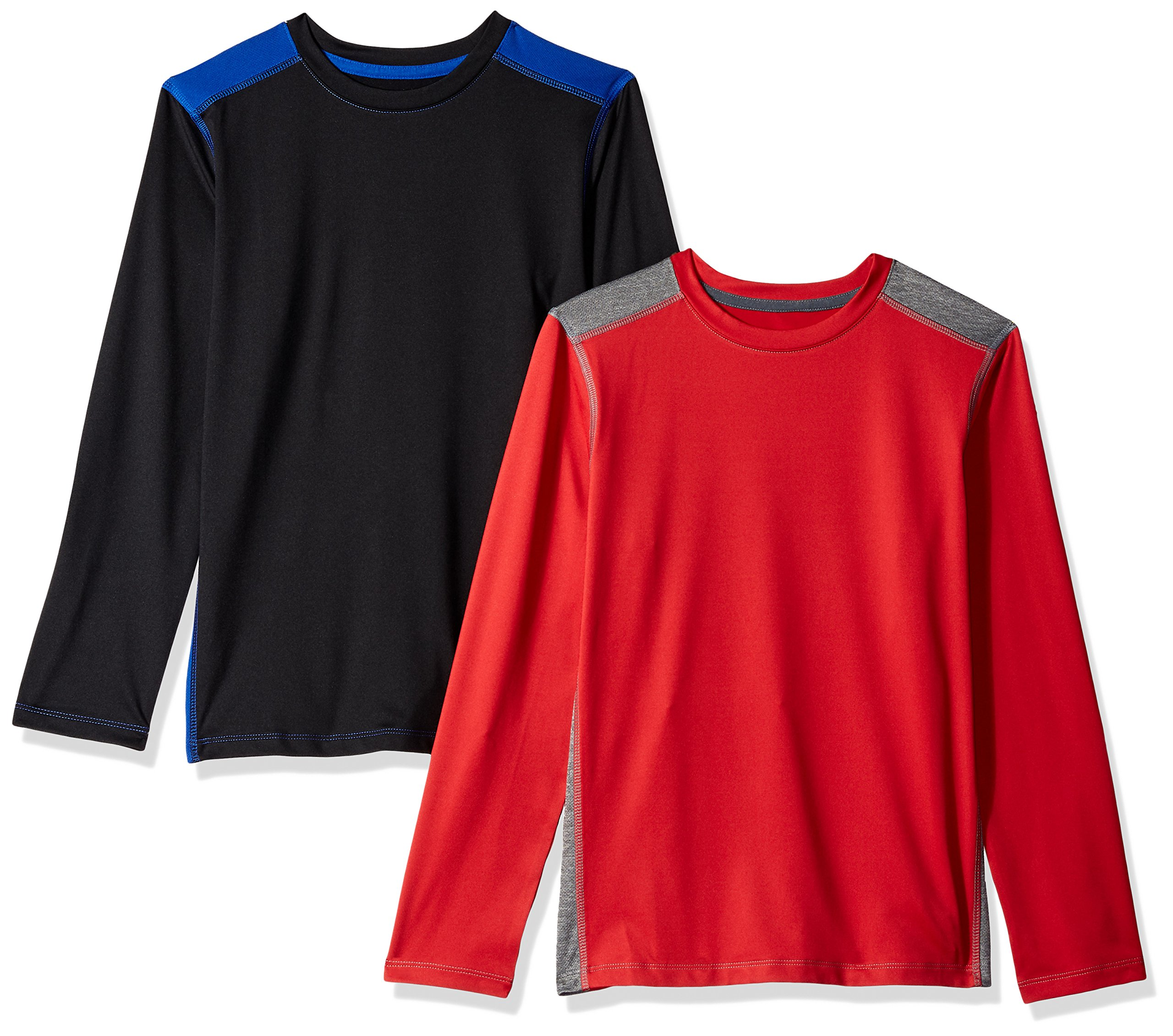 Amazon Essentials Boys' 2-Pack Long-Sleeve Pieced Active Tee, Black/Royal Blue/Red/Grey, Small