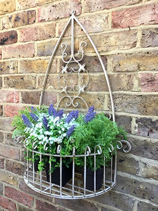 Rustic Hanging PLANTER Basket Antique Victorian Style Garden Plant Hanger