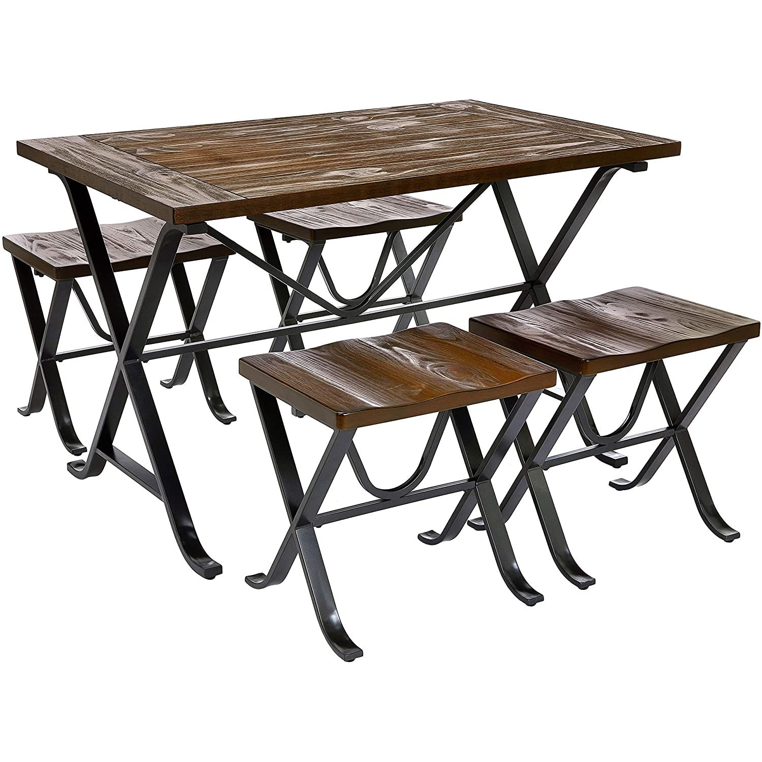 Ball & Cast Britton Industrial-Style Rectangular Dining Table and Matching Stools with Black Metal Legs, 5-Piece Set, Saloon Brown