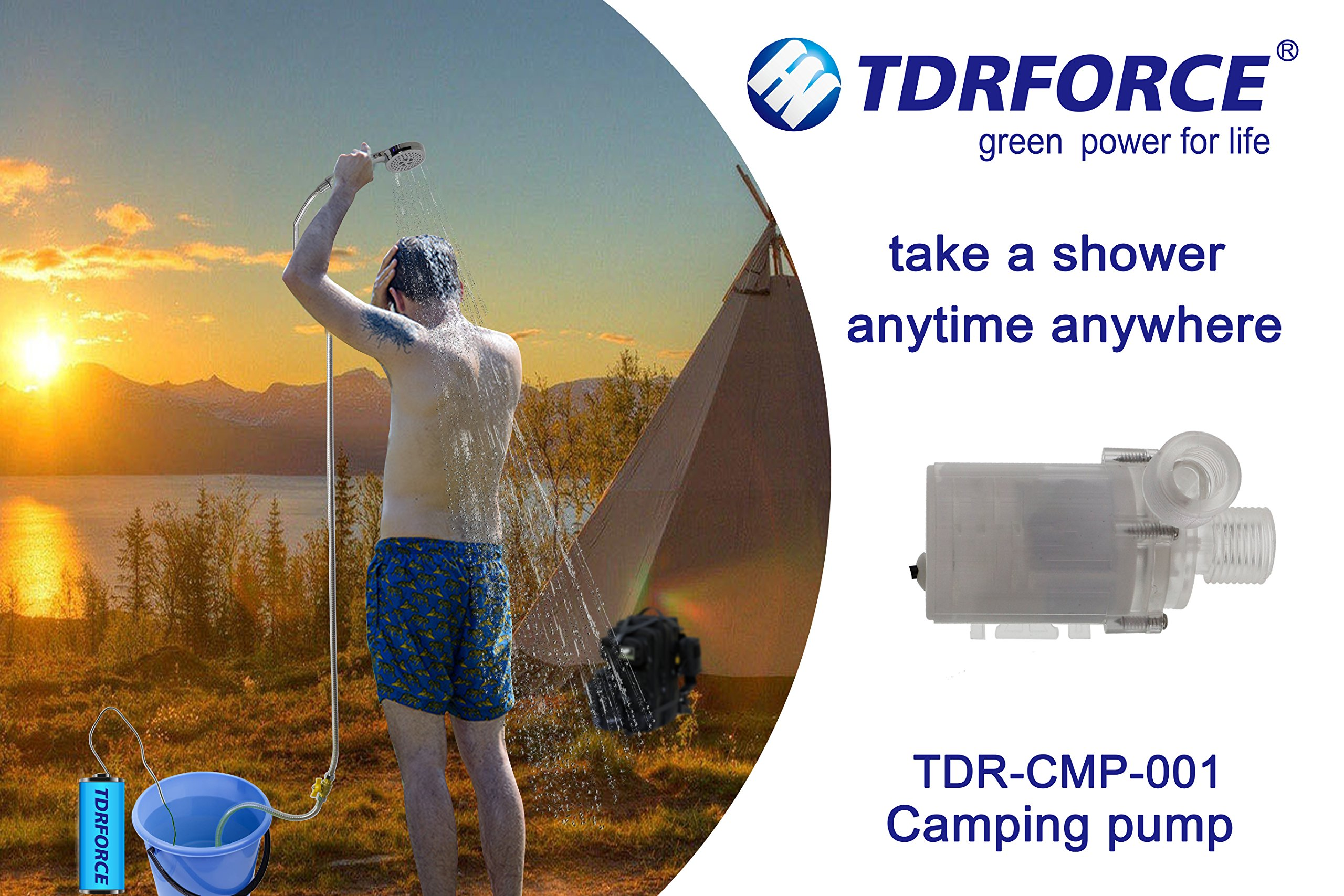 TDRFORCE 24V Portable Outdoor Shower, Battery-Powered Rechargeable Handheld Shower for Camping - Pumps、 Camping, Pet Cleaning, Includes Water Pump, Shower Head, On/Off Switch and Accessories