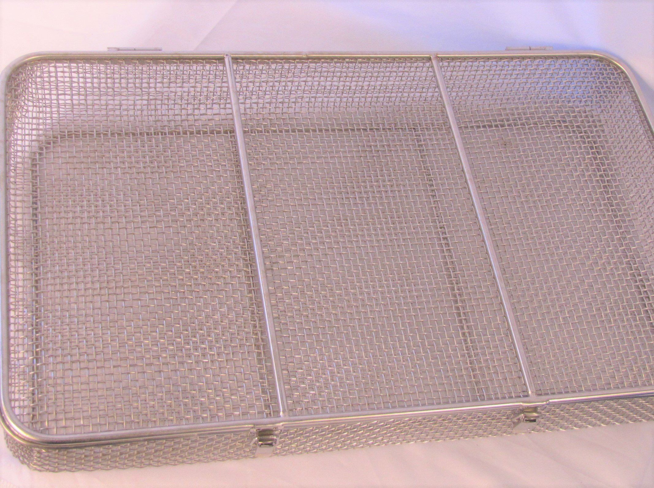 Large Stainless Steel Autoclave Tray, Dental Sterilization Cassette, Storage Box, 19.5'' x 12'' x 3''