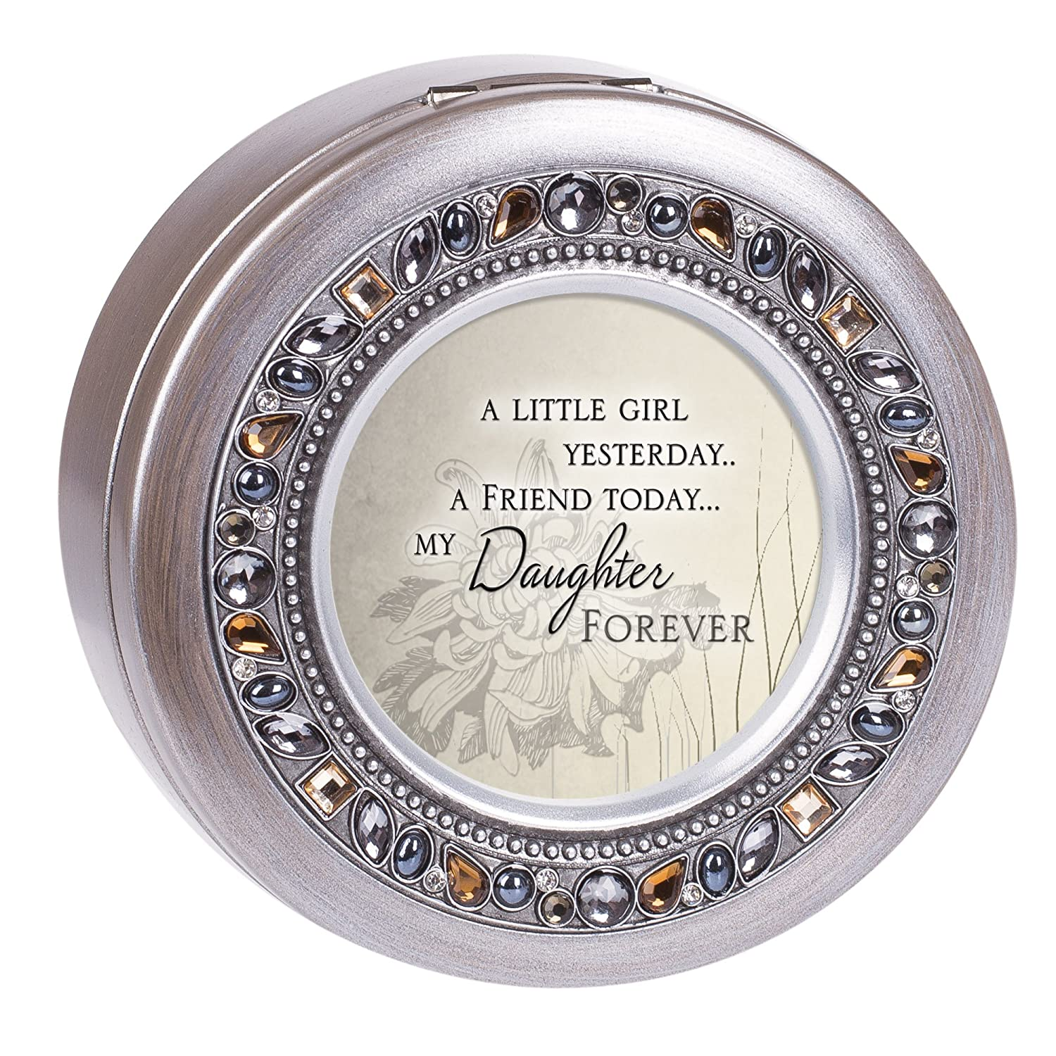Cottage Garden Friend Today Daughter Forever Brushed Silver Round Jeweled Music Box Plays Tune Wonderful World