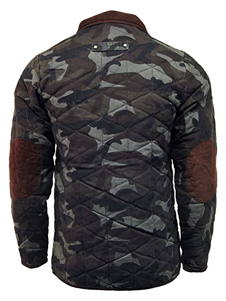 7fe2d2bfa Soul Star Mens Camouflage Military Quilted Coat Jacket - D44: Amazon ...